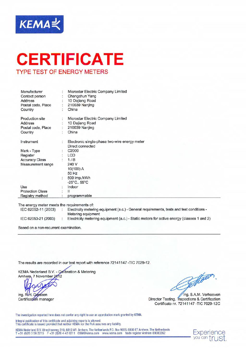 C2000 IEC Type Test Certificate by KEMA