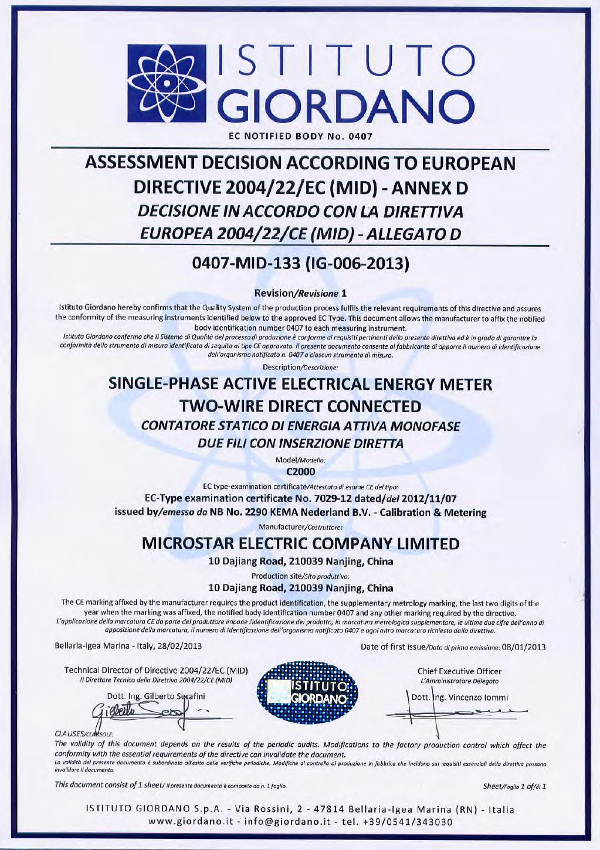 Microstar C2000 Smart Meter MID Module D Certificate