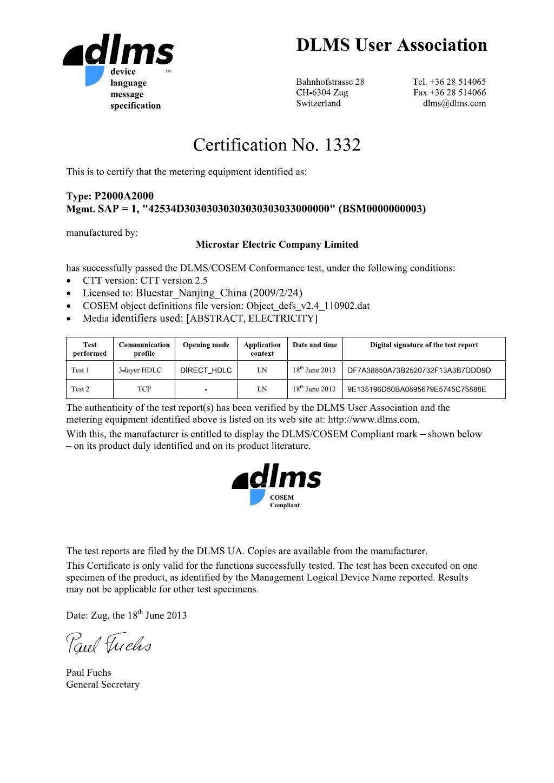 Microstar P2000 Series Smart Meter DLMS Compliance Certificate